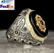 Turkish 925 Sterling Silver Popular Black Onyx Stone Mens Man Ring All Sİze 300