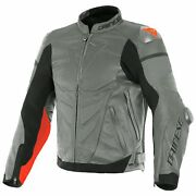 Dainese Super Race Mens Leather Jacket Charcoal Gray/fluo Red