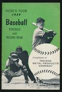 1959 Indiana Metal Products Baseball Schedule And Record Book -tough To Find