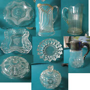 Antique Eapg Glass Garfield Drape Plate Adams Depression Pitcher Compote Pick