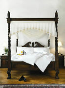 6and039 Super King Queen Anne Style Four Poster St James Mahogany French Canopy Bed