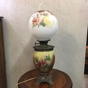 Hand-painted Gone With The Wind Style Converted Oil Lamp 1880s Antique Victoria
