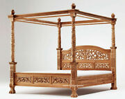 Teak Carved Four Poster Floral Design Canopy Bed .. 1 Year Money Back Guarantee