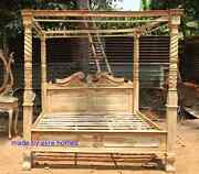 Rustic Look Teak Wooden Natural Four Poster Canopy Designer Queen Anne Bed