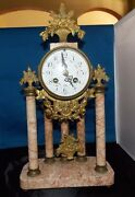 French Marble And Ormulo 5 Column Portico Clock Selsi Paris Works Perfectly