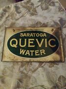 Rare 1920s Old Original Early Saratog Quevic Water Reverse Glass Sign