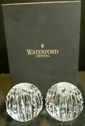 Waterford Crystal Candela Solid Ball Candlesticks 160736 In Orig Box Excellent