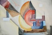 Raymond Trameau - Painting Original - Watercolour - Composition Abstract 13