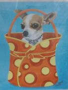 Chihuahua Wearing Heart Necklace In Bagpurse Art Print By Carol 2005