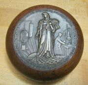1940s Fritzsche Brothers Advertising Paperweight Bronze Medallion Wooden Base