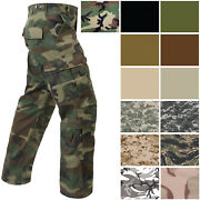 Military Paratrooper Fatigues Cargo Camo Pants 8 Pocket Washed Army Tactical