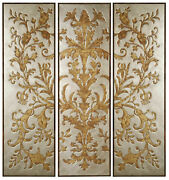 Silver Gold Tryptic Wall Decorative Art Mdf Wood Multi Colored