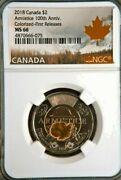 2018 Canada Color Poppy Armistice 100th Anniv 2 Toonie First Releases Ngc Ms66