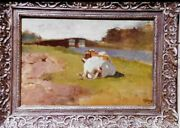 Vintage Oil On Canves Painting Cow In Lowland Pasture 1870 Anton Mauveandnbsp
