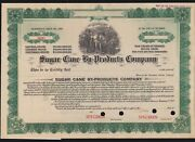Us 1910 Sugar Cane By-products Co. Specimen Stock Certificate Scarce Ma