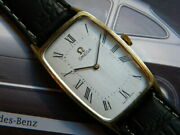 1950and039s Antique Omega Rectangular Watch Stainless Steel And Gold Plaque 18k Cal 620