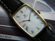 1950's Antique Omega Rectangular Watch Stainless Steel And Gold Plaque 18k Cal 620