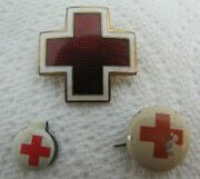 Antique Red Cross Pins Pinbacks Lot Enamel Red And White Beautiful Design