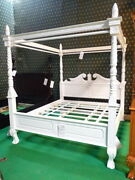 6and039 Super King Size White Queen Anne Style Four Poster Mahogany Designer Bedframe