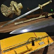 Rare Boutique Chinese Full Tang Copper Sword Pattern Steel Handmade Sharp Blade