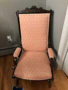 Victorian Walnut Rocking Chair With Tapestry Upolstery