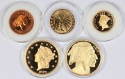 Lot Of 5 Gold-plated Andc. Liberty Buffalo Indian Chain Cent Tribute Proof Medals