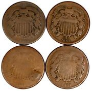1864-1867 United States Two-cent Pieces 4 Coin Lot 2c Vintage Copper