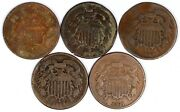 Lot Of 5 United States 1864 Two-cent Pieces 2c Vintage Copper