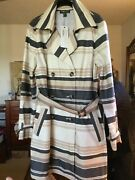 Peruvian Connection Coat Raincoat Size 12 Striped Trench Coat Trenchcoat