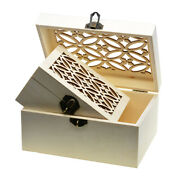3x Wooden Jewelry Storage Case Unfinished Wood Trinket Box With Carved Lid