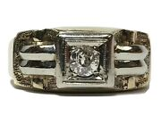 Antique Menandrsquos 10k Yellow And White Gold European Cut Diamond Ring Band Mans Size 8