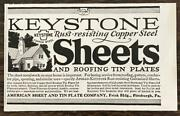 1927 Keystone Rust-resisting Copper Steel Sheets And Roofing Tin Plates Print Ad