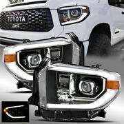 For 2014-2019 Toyota Tundra Trd Pro Look Black Drl Projector Headlights Assembly
