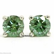 1.00cts Beautiful Round Shape Solitaire Green Diamond Vvs Clarity Certified Stud