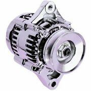 High Output Denso Style Chevy Chrome Mini Alternator 1 One Wire System 75 Amp