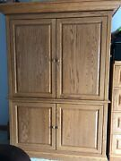 Hidden Armoire Chest Computer Desk Drawer Cabinet Amish Made In The Usa-oak