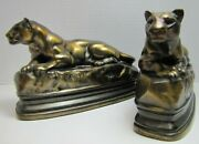 Art Deco Panther Bookends Barye Kando Co Decorative Arts Figural Big Cat Book Ends