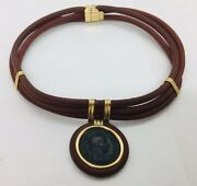 Italian 18k Yellow Gold Leather Severus Alexander Ancient Coin 222-235 Necklace