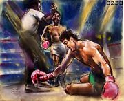 Gerry Cooney Larry Holmes Original Sketch Drawing By Ida Libby Dengrove For Nbc