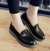 Fashion Womens Pu Leather Loafers Low Top Flats Oxfords Shoes British Plus Size