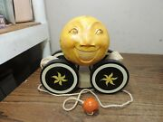 Briere Folk Art Pull Toy 1992 Man In The Moon And Cow Ball And Cart /cradle 433 Exc
