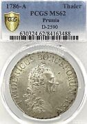 German States Prussia 1786 A Taler Coin Thaler Pcgs Ms 62 F.stg/stg Death Year