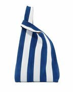 Hayward Suede And Leather Stripe Shopper Tote Bag Blue White 900