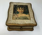 Antique Jewelry Music Wood Box Painted Girl Figure Multi Color Color