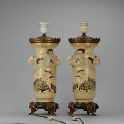 Lovely Antique Satsuma Lamp Vase Set With Cranes And Turtles Japan 19/20c Mei...