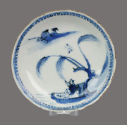 Antique Chinese Plate 17th C Porcelain Ming Tianqi Transitional Fisherma...