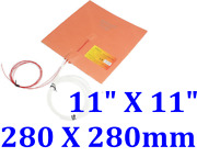 11 X 11 280 X 280mm W/ 3m Cube 3d Printer Heated Bed Plate Pad Silicone Heater