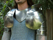 X-mas Medieval Gorget And Pauldron Armor Set Hand Made Spaulders Knight Sca