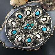Heavy Silver Belt Buckle Turquoise Mother Of Pearl And Onyx Oval Belt Buckle