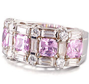 Lenox Sterling Silver Eternity Ring Pink And White Cz Size 7 New